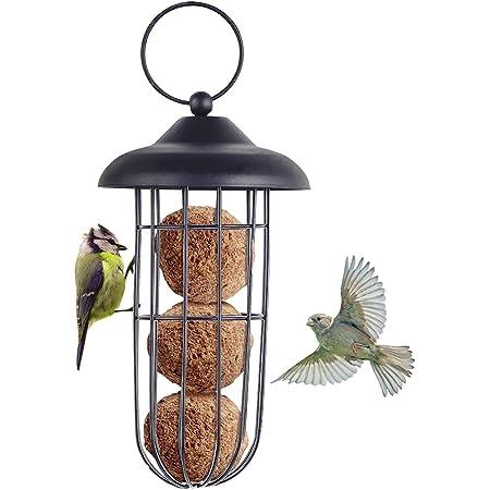 Kcpolre Mangeoire à oiseaux, mangeoire à oiseaux en métal à l'épreuve des écureuils mangeoire à oiseaux fer à suspendre automatique porte-boule de graisse outil d'alimentation