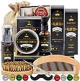 Kit De Coffret Coin Barbe Homme Complet Produit avec Shampoing Barbe,Huile Barbe,Peigne,Brosse a...