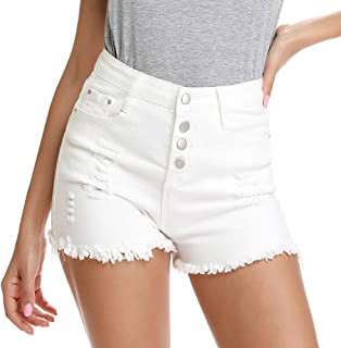 kefirlily Women's Frayed Raw Hem Ripped Distressed Denim Shorts