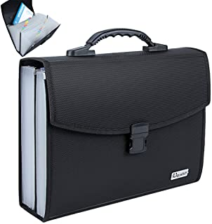 Uquelic Classeur 26 poches avec boucle durable améliorée avec poignée ergonomique/grand format A4 extensible classeur de f...