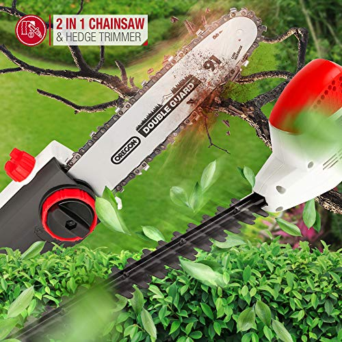 NETTA 2 in 1 Pole Long Reach Hedge Timmer and Chainsaw 710W with Extendable 2.7m, Adjustable Head & 10m Cable