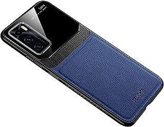 ل Vivo V20 SE حافظة جلد لينة غطاء سيليكون غطاء حماية الزجاج - أزرق