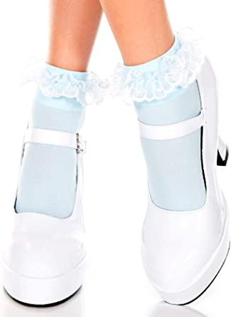 Music Legs Women's Lace Ruffle Opaque Anklet
