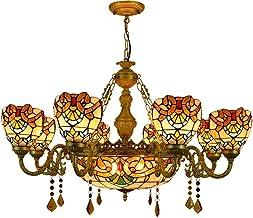 Retro Barokke Tiffany stijl kroonluchter grote vervaardigde glazen hanglamp vintage interieur multi-arm decoratie opknopin...