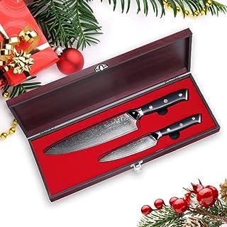 Sunnecko Kitchen Knife Damascus Knife Juego de 2 Cuchillos Chef de 8 Pulgadas + Cuchillo utilitario de 5 Pulgadas - Hoja de Acero Japonesa Damasco Ultra Afilada/Mango G10 - Serie Classic