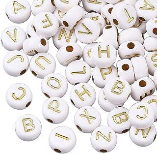 Cheriswely, 1000 perline bianche in acrilico da 7 mm, a forma di disco piatto, per creare gioielli e braccialetti