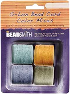 4 Spools Super-lon #18 Cord Ideal for Stringing Beading Crochet and Micro-macram Jewelry Compatible with Kumihimo Projects S-lon Light Mix