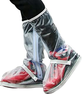 Negaor Waterproof Rain Boot Shoe Cover with Reflector Elastic Strip and Zipper Reusable Non-Slip Rain Boot Galoshes Oversh...