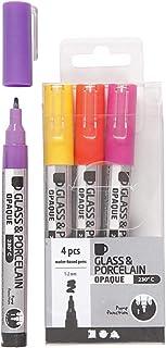 Glas- und Porzellanmarker, Strichstärke: 1-2 mm, Gelb, Lila, Orange, Rosa, Deckend, 4Stck.