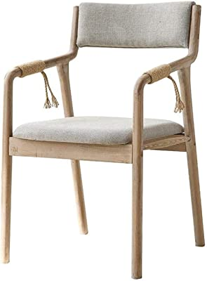 Kitchen Home Decor Wooden Dining Chair with Hemp Rope Armrest and Back Upholstered Padded Seat Portable for Kids Adults Kitchen Computer Desk Dining Stool Vintage Modern Gray Colour:B