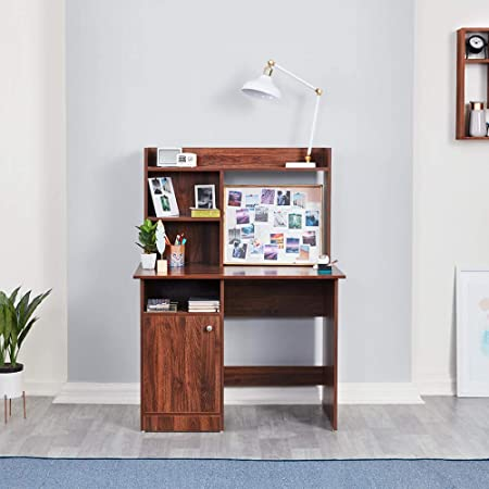 Wakefit Sage Engineered Wood Study Table with 5 Shelves (Matte Finish, Columbian Walnut Brown Colour)