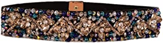 Women's Rhinestone Crystal Beaded Belts Stretch Waistband Multi Colored