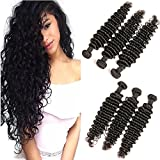 DAIMER Brazilian Deep Wave 24 26 28 Inch Natural Colo 3 Bundles Unprocessed Virgin Human Hair Weave Sew In Wet And Wavy Hair Extensions Double Weft Long Curly
