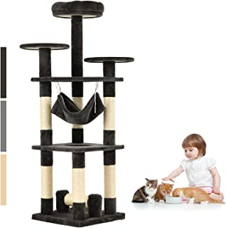 Advwin Cat Tree 132 cm Multi-Level Cat Scratching Post Tower Scratcher ( Dark Grey )