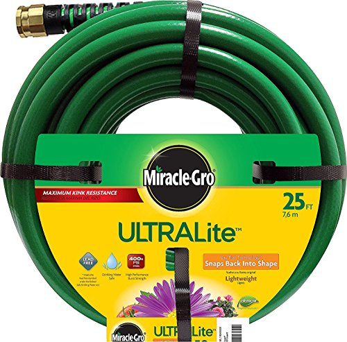 "Swan Products MGUL12025 Miracle-Gro ULTRALite Compact Lightweight Garden Hose 25' x 1/2"", Green"