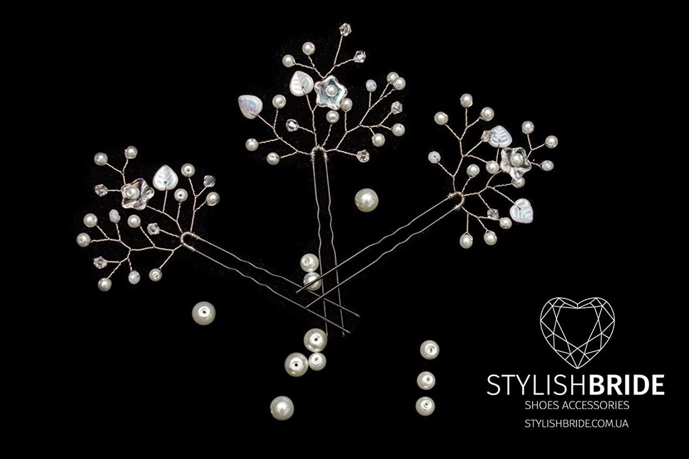 Bridal Floral Hair Pins, Pearl Hair Pins, Wedding Hair Accessories, Bridesmaid Hair Accessory, Crystal Pearl Diamante Hair Grips