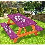 LEWIS FRANKLIN Cortina de ducha Hope Picnic mesa y bancos, diseño de mensaje espiritual mantel ajustable, 70 x 72 pulgadas, juego de 3 piezas para viajes, Navidad, picnic, fiestas al aire libre