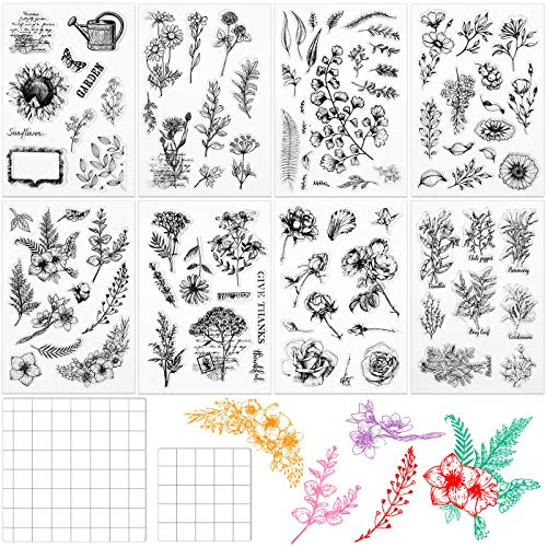 8 Pieces Flower Stamps Leaves Flowers Silicone Stamps Clear Floral Stamps and 2 Pieces Acrylic Stamp Blocks Tools with Grid Lines for Card Making Decor DIY Scrapbooking