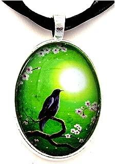 Laura Milnor Iverson Black Raven Handmade Pendant Crow Bird Necklace Green Night Moon Cherry Blossoms
