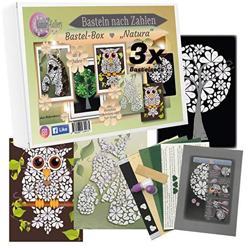 Kamary-Gallery 3 x Bastelset in Bastelbox Papierbastelset Natura für Kinder und Erwachsene ab 8 Jahre, Box Basteln nach Zahlen in 3D-Design, Geschenkidee und DIY-Set
