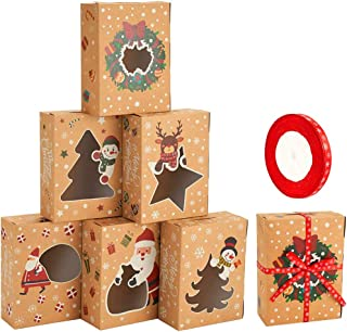 CCINEE Christmas Cookie Boxes,Kraft Treat Box with Window Ribbons for Bakery Candy Gift Giving Supplies,Pack of 12