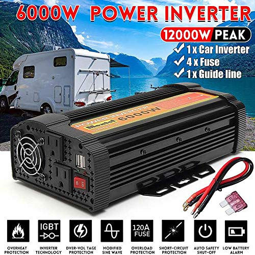 GRTBNH Power Inverter 3000W 4000W/5000W/6000W/8000W/10000W, Modified Sine Wave Converter DC 12V to AC 110V, Car Inverter with 2 USB Power for Caravan/Camping/Boat,8000w
