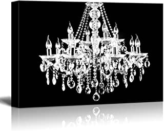 wall26 Canvas Wll Art - Crystal White Chandelier on Black Background - Giclee Print and Stretched Ready to Hang - 24