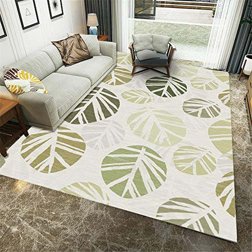 Extra Small Medium Gray + green Floor Carpet Rugs Bedroom Room Patterned Rug Bedroom carpet,leaf pattern,kitchen,sofa,children's room 80×160CM