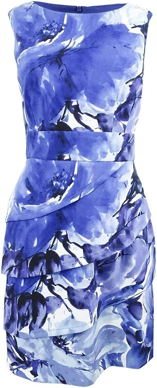Connected Apparel Womens Printed Sleeveless Sheath Dress