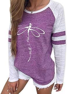 comprar comparacion Camiseta Estampada Animal Linda de Cuello Redondo de Manga Larga Casual Sudadera Top