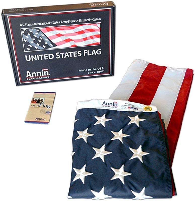 Annin Flagmakers Model 2460 American Flag 3x5 Ft Nylon SolarGuard Nyl Glo 100 Made In USA With Sewn Stripes Embroidered Stars And Brass Grommets