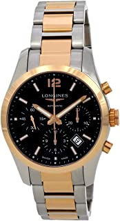 Longines Conquest Classic Automatic Chronograph 18k Gold and Stainless Steel Exhibition Back Men's Watch
