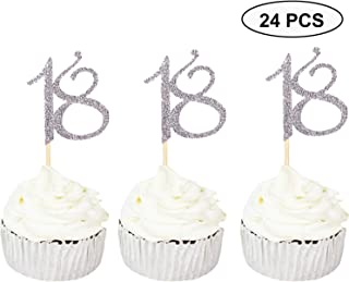 24 PCS 18th Cupcake Toppers - Anniversary or Birthday Cupcake Picks Party Decoration Supplies   Silver 18th
