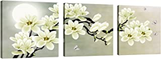 Natural art – White Magnolia & Butterfly Under the Moon Modern Giclee Canvas Prints Paintings to Photo Printed Artwork for Wall Decor
