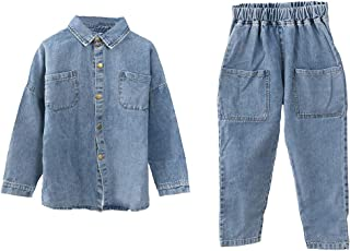 amropi Conjunto de Ropa Denim para Niñas Chaqueta Vaquera Tops y Pantalones Pantalón Trajes 2 Piezas por 4-15 años