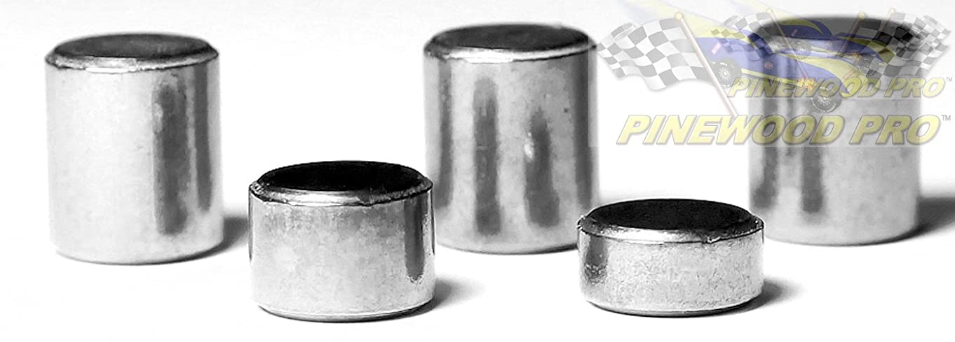 """Pinewood Pro Derby Tungsten Weights Five 3/8"""" Incremental Cylinders (Three .5 Ounce, One .3 Ounce, One .2 Ounce) to Make the Fastest Pine Derby Car"""