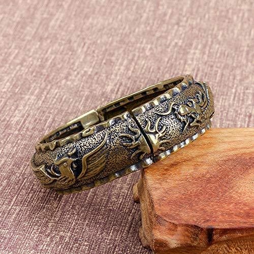 YOPDNE Brass Bracelet Dragon and Phoenix Carved Ethnic Style Retro Pure Copper Old Object Transfer Open Bracelet Children