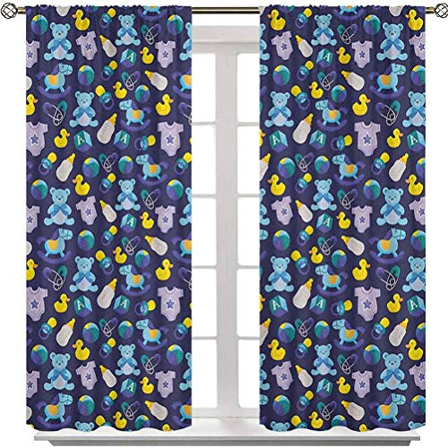 Aishare Store Curtain, Children Toys Pattern with Rubber Duck Teddy Bear Beach Ball and Rocking Horse, 54 Inches Long Rod Pocket Blackout Drapes for Living Room(2 Panels), Multicolor