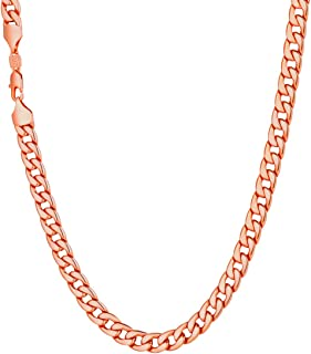 Men Women Miami Cuban Chain with Customized Stamp Service 5/7/9/12/15mm Wide Stainless Steel 18K Gold Plated Curb Necklace, Length 14