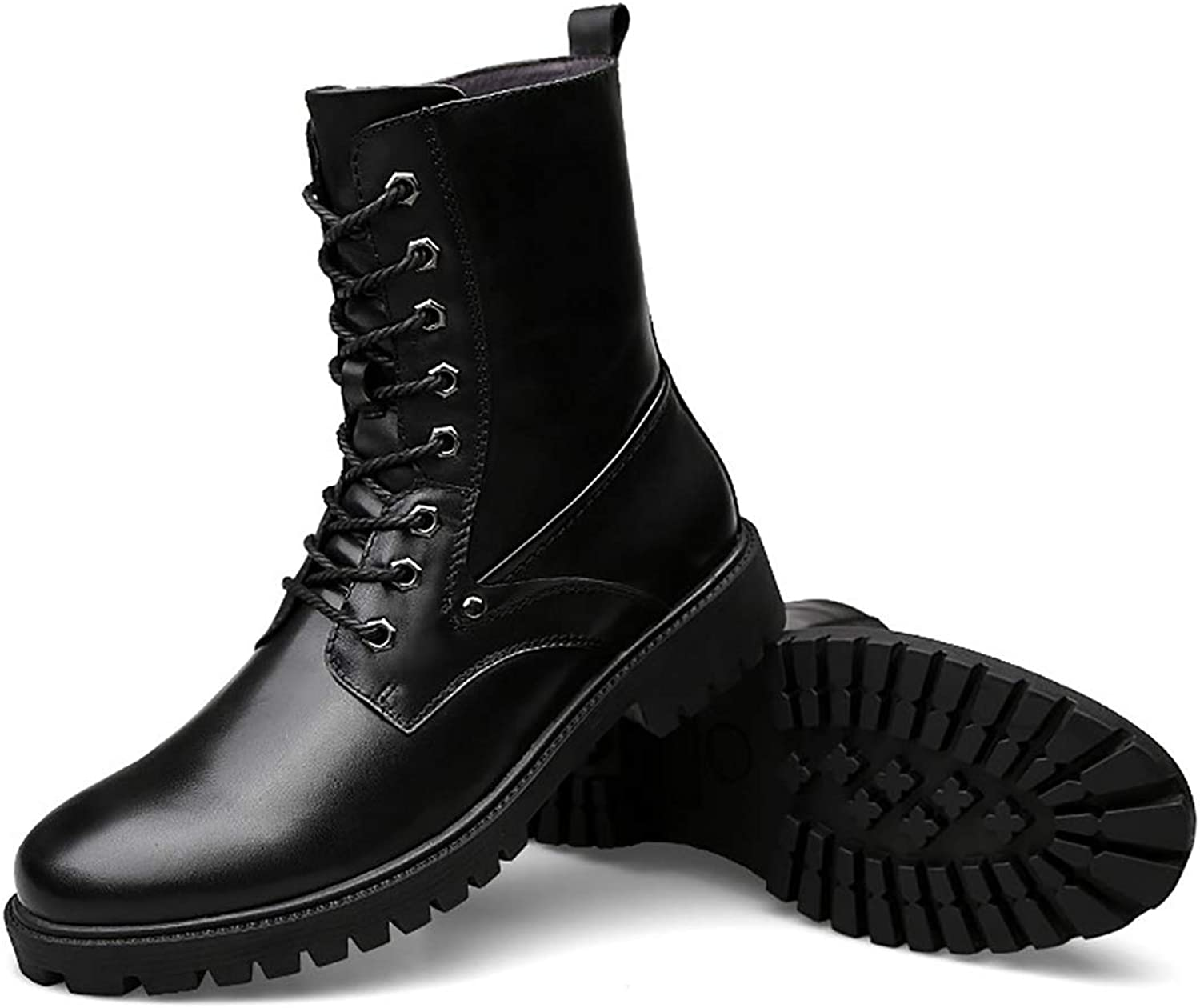 Men's Invisible Heightened Rubber Sole Military Boots Outdoor Sports Faux Leather Lace-Up Combat Boots,Single shoes & Plus Cotton,Blacksingleshoes,38