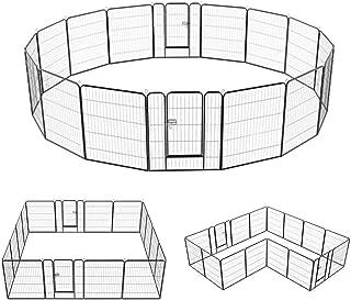 Yaheetech Dog Pen Playpen Play Yard Foldable - Portable Pet Puppy Cat Metal Exercise Barrier Fence w/Door Outdoor Indoor 32-inch 8/16 Panel Black