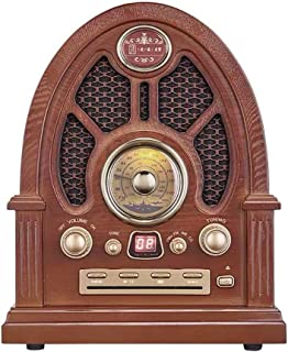 Retro FM Radio, Wooden CD Bluetooth Player, Support AUX U Disk TF Card, with Power Cord and Antenna, Large Dial Double Dua...