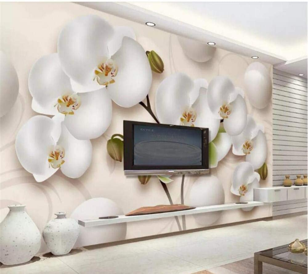 3D Wallpaper Opening large release sale Over item handling ☆ Modern HD Stereo Orchid White Photo Wall Flowers Mu