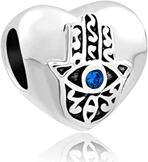 QueenCharms Evil Eye Charm Hamsa Hand of Fatima with Blue Crystal for Bracelet