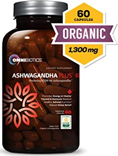 Ashwagandha - Certified Organic with KSM-66 Root Powder Extract - Natural Supplement for Stress Relief, Anti-Anxiety & Fatigue - Mood Enhancer - Thyroid Support - 60 Vegan Capsules