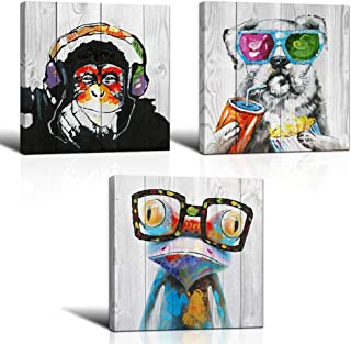 """3 Piece Animal Canvas Art Abstract Frog Gorilla Dog Print on Rustic Wood Background Picture Framed Paintings Wall Art for Home Decor 12""""x12""""x3"""