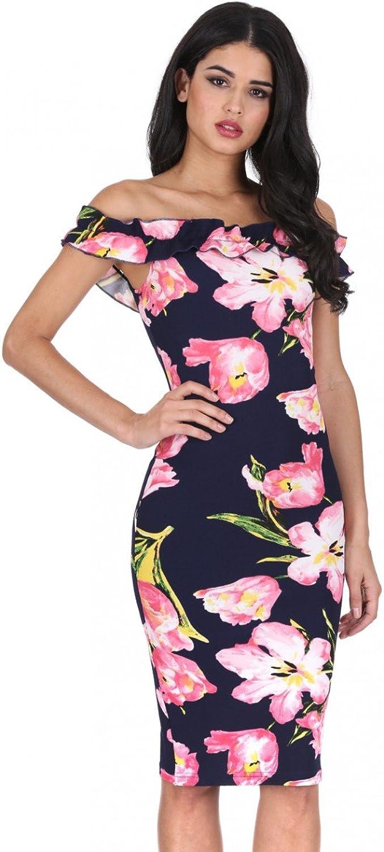 AX Paris Women's Ruffle Bardot Floral Midi Dress