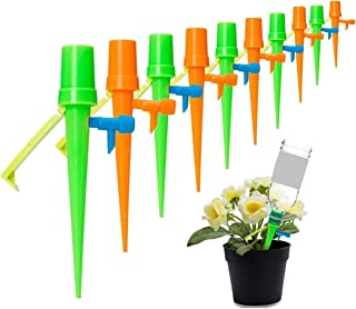 Plant Watering Devices, 10 Pack Plant Self Watering Spikes System with Anti-tilt Bracket & Valve Control Switch, Slow Rele...