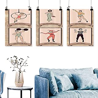 SCOCICI1588 3 Panels Triptych EVintage Circus Characters Acrobat Arded Lady  Gymnast Strg Man Harlequin Mime For