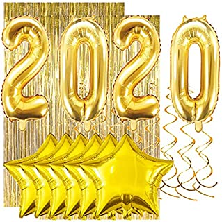 Gold New Years Decorations, Gold Graduation Decorations: Huge 2020 Balloons, (2) Gold Foil Fringe Curtains, (6) Gold Foil Star Balloons, (8) Gold Ceiling Spirals. 2020 New Year Decor 2020 Graduation